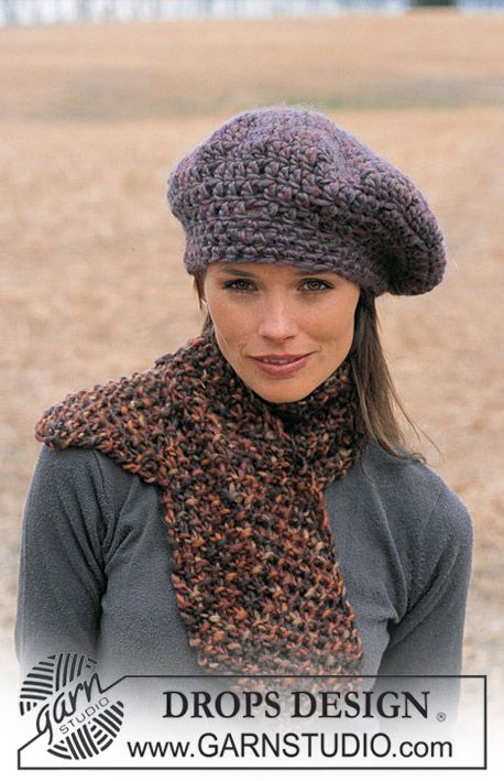 """DROPS Gehaakte baret en gebreide sjaal van """"Eskimo"""" ~ DROPS Design"""