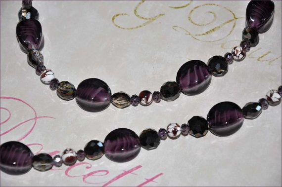 Purple Bead Necklace, Lampwork Beads, Plum Beaded Necklace, Amethyst Necklace, Double Strand Beads, 48 Inch Necklace, Long Beaded Necklace
