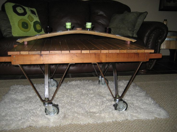 Coffee Table From Old Hardwood Floors, Legs From Old Railroad Baggage Cart
