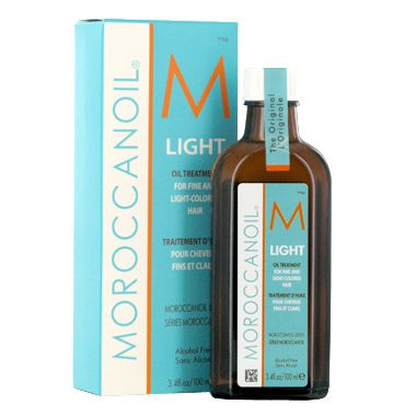 Moroccan Oil Light.  The light is recommended for those of us with blonde or color treated hair.  I use this EVERY TIME I get out of the shower on my wet hair.  It's truly a wonderful product and I don't know what I would do without it!