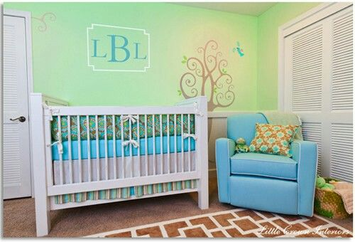 Teal, light green and white neutral colors for unisex nursery