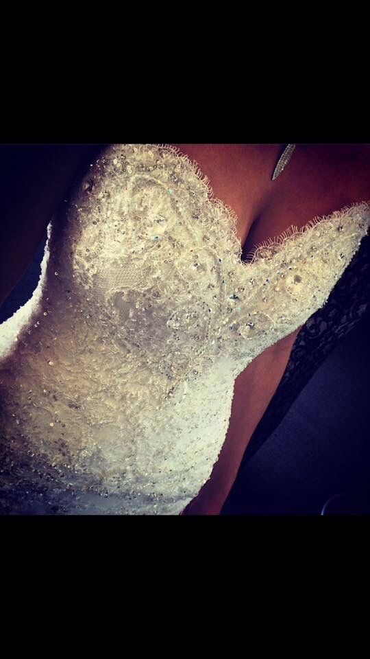 Bespoke Swarovski crystal hand embellished, Beaded lace corseted bodice by Ingrid Hocking Couture. Subliminal neckline detail to enhance and define the bodice.