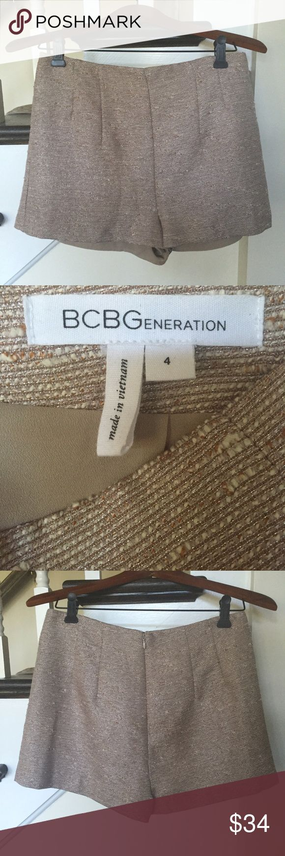 BCBGeneration dress shorts Never worn, sophisticated short in a tan/metallic tweed-like fabric. BCBGeneration Shorts