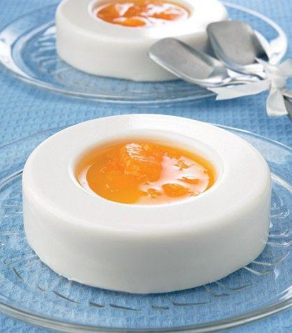 Gelatinas blancas con salsa de mandarina