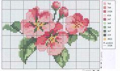 Cross stitch - flowers: Apple blossom (free pattern- chart - part 2)