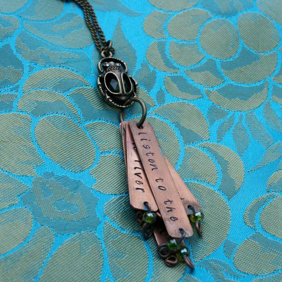 Ripple Grateful Dead lyrics copperstamped necklace by eliabella, $28.00