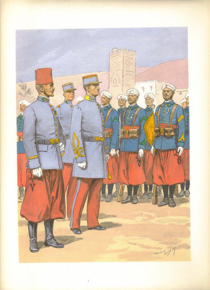 French; Tirailleurs Algériens. Sous-lieutenant indigène. Lieutenant Français & Sous-officier porte-fanion.. By Maurice Toussaint from 'LES UNIFORMES DE L'ARMEE FRANCAISE, 1935'