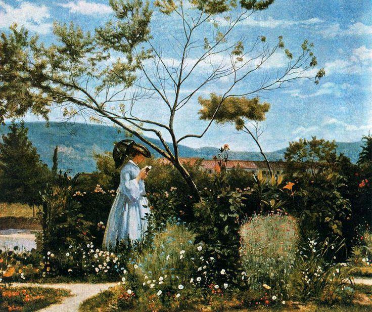 Silvestro Lega - Tra i fiori del giardino 1862