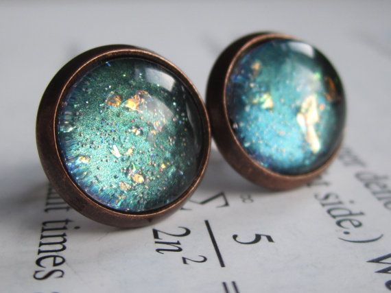 Polar - Earring studs - science jewelry - science earrings - galaxy jewelry - physics earrings - fake plugs - plug earrings - nebula studs on Etsy, $11.00