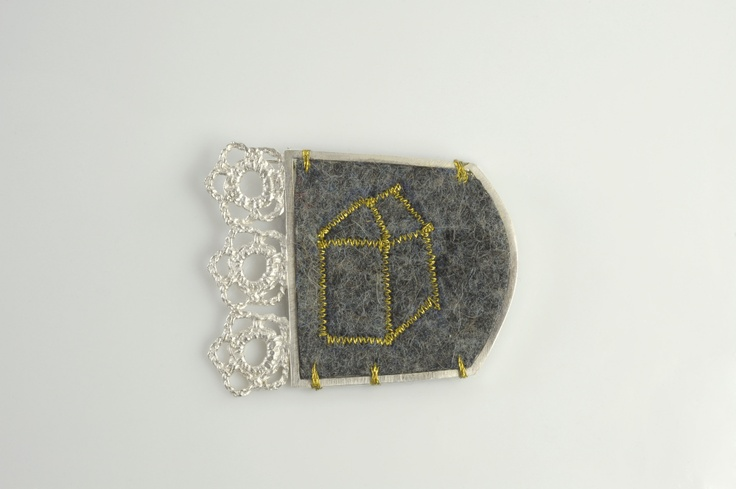 Wooly Home Brooch. Silver and wool felt. By Ebba Goring