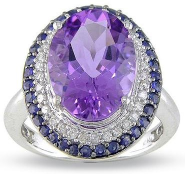 Large Oval Amethyst and Sapphire Ring in 14K White Gold with Diamond Accents,