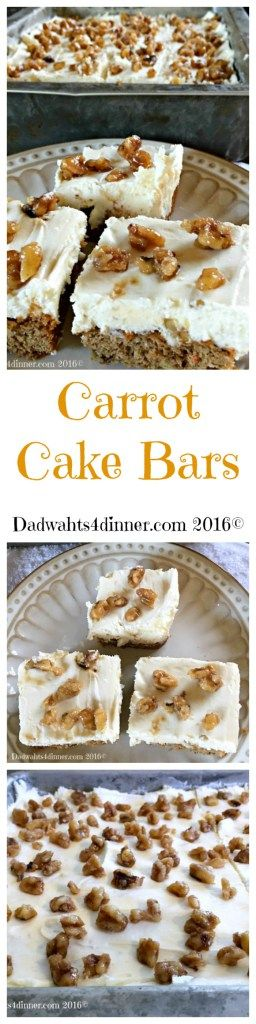 I don't know of a better way to get your veggies than in these scrumptious Carrot Cake Bars with Cream Cheese Frosting. Simple and delicious!
