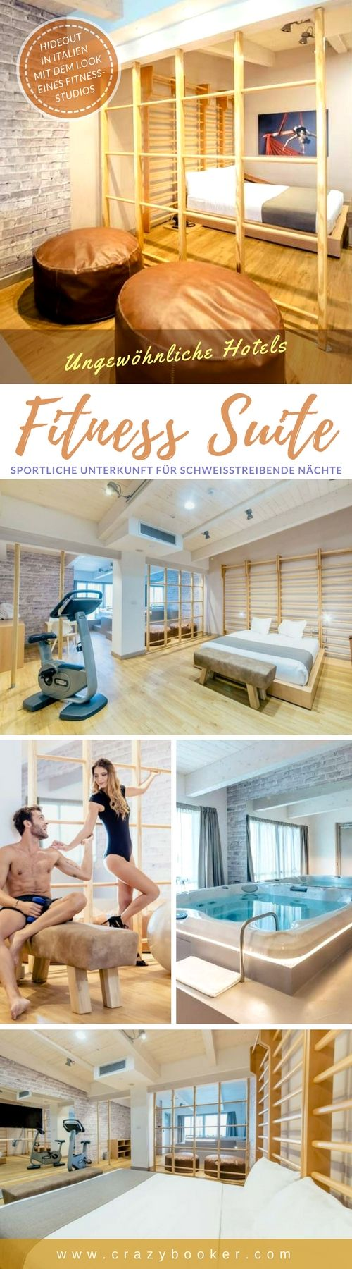Fitness-Suite in #Italien   Sportliches Hotelzimmer (schallgedämpft) mit Sprossenwand, Hometrainer, Barren, Stangen, Gymnastikball, Pauschpferd und Turnmatte und -bank für schweißtreibende Nächte   In diesem einzigartigen Liebesnest kommt Bewegung in jede Beziehung. Nach dem Trainings-Auftakt und erfolgreicher Kür sorgt ein Whirlpool für verdiente Entspannung   #gym #fitness #studio #hotel #liebesnest #sport
