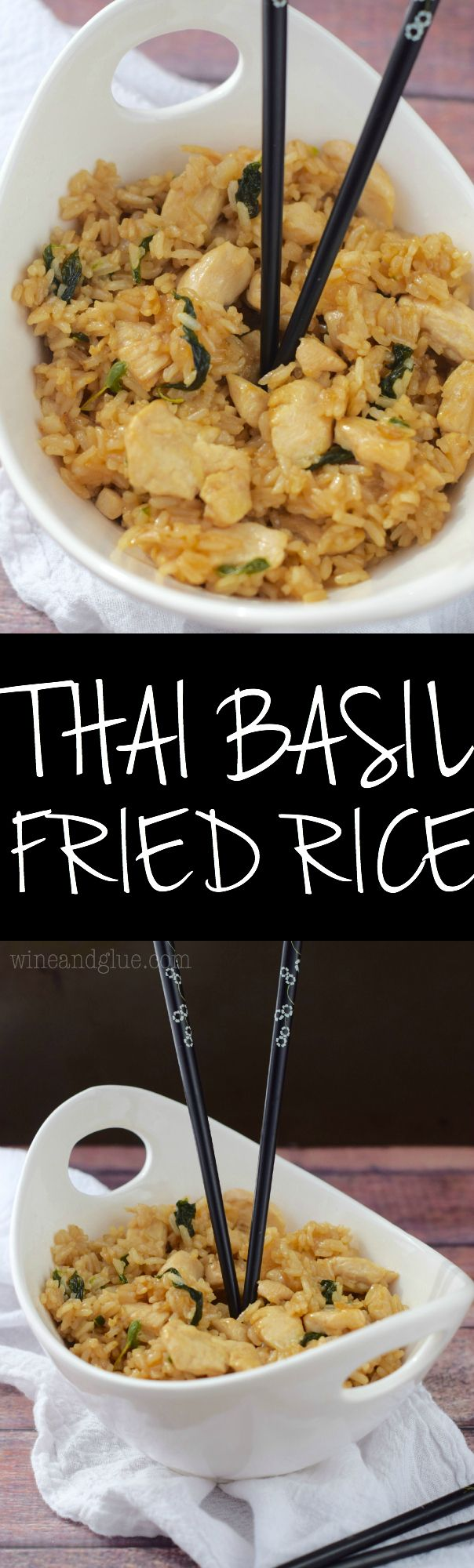 Thai Basil Fried Rice that is absolutely delicious! Comes together easily and tastes just as delicious as takeout!