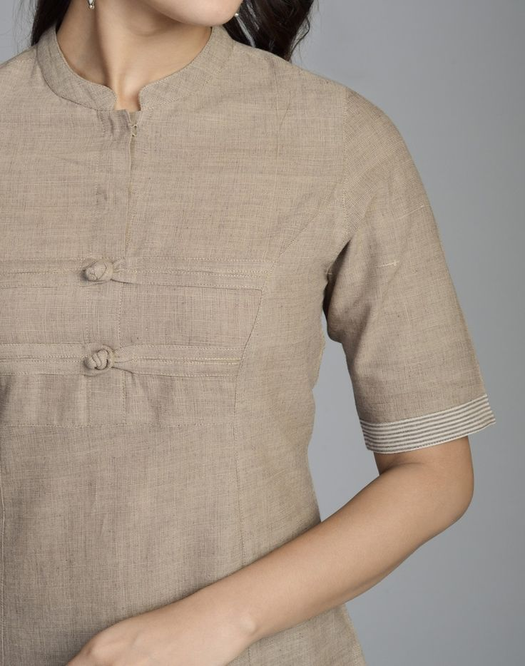 Cotton Khadi Elbow Sleeves Border Long Kurta