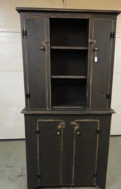 Primitive 4 Door Hutch Cupboard Cabinet by CJNPRIMITIVES on Etsy, $899.99