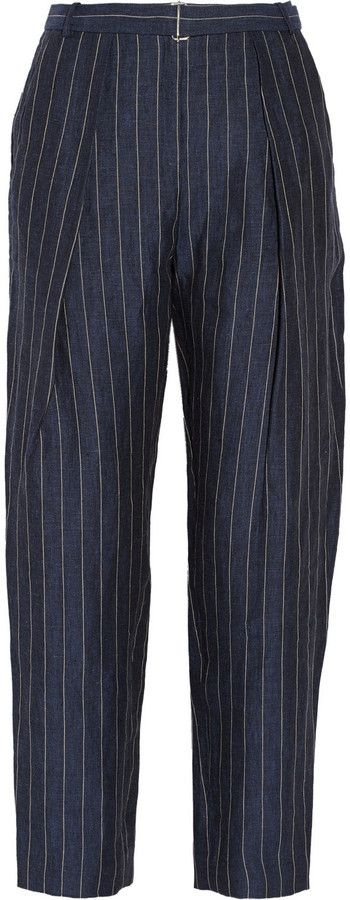 Angelie pinstriped linen tapered pants By Malene Birger