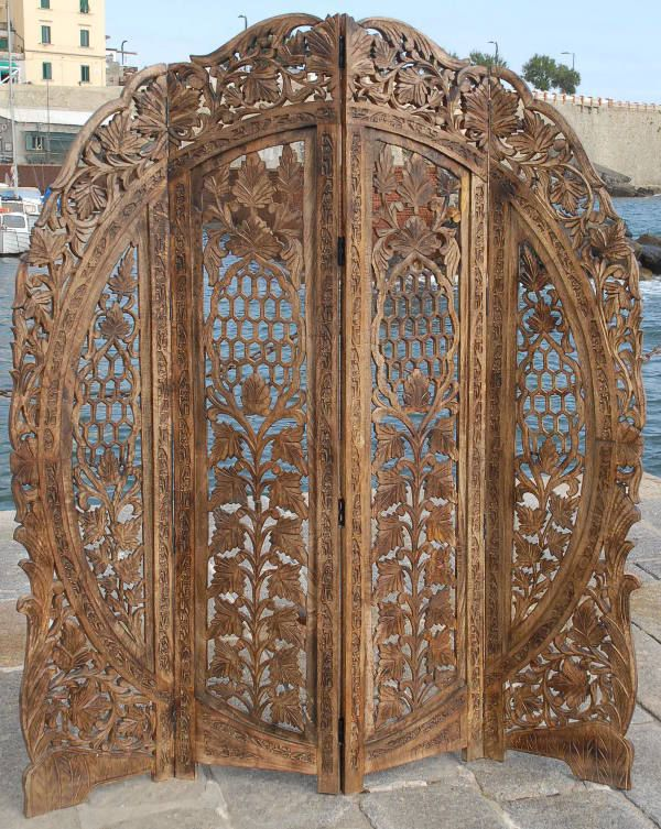 details about 4 panel screen room divider paravent indian hand carved wooden r - Home Decor Screens
