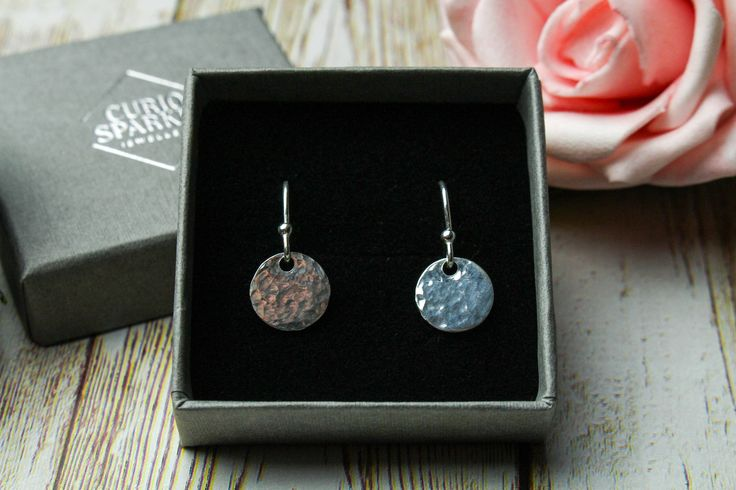 Sterling silver dangle drop earrings, delicate hammered circle jewelry, gift for wife, sister, friend, 30th 40th 50th birthday, nickel free by CurioSparkle on Etsy https://www.etsy.com/uk/listing/516692940/sterling-silver-dangle-drop-earrings