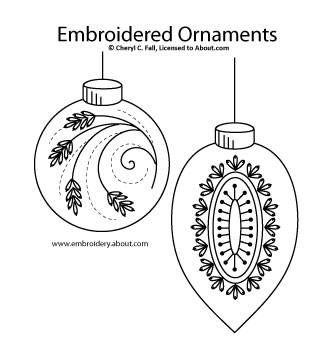 Christmas Ornament Hand Embroidery Pattern Set 1- Free Embroidered Christmas Ornament Pattern