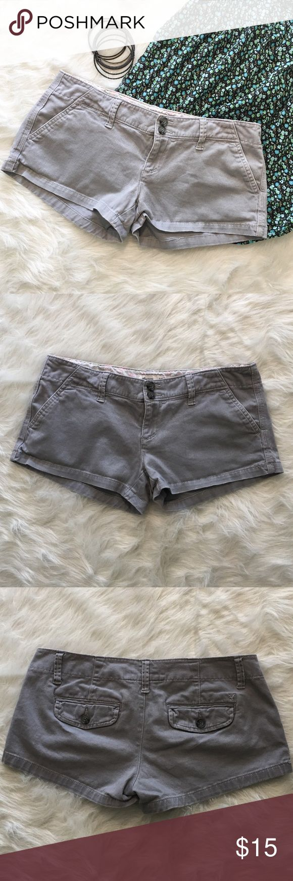 American Eagle Gray Shorts 2 Gently used American Eagle stretch shorts. Size 2. These were unbelievably comfortable! Unfortunately, I'm no longer a 2 after my pregnancy.                                                                ❌ No Trades ❌ No off Poshmark transactions ❤️ Bundle and save 📬 Fast shipper ❤️ I love reasonable offers American Eagle Outfitters Shorts