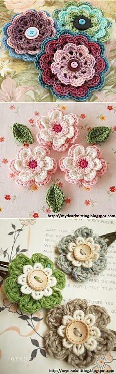 Модное вязание крючком, схемы и советы по рукоделию: Цветочки вязаные крючком схема
