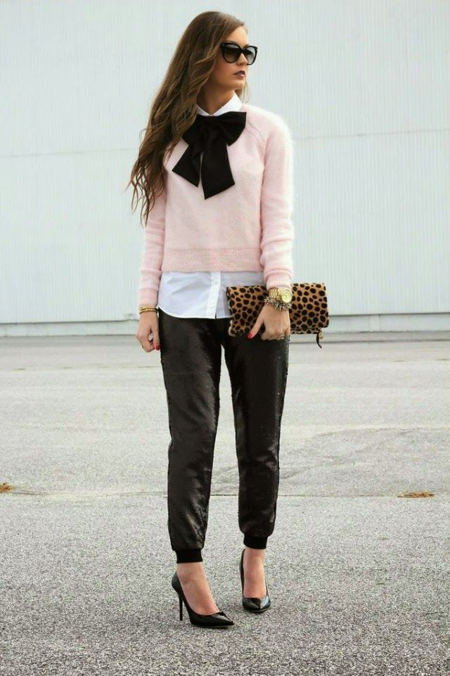 NYE Ready in black, sequin track pants + blush pink sweater w/ black bowtie on www.forallthingslovely.com: