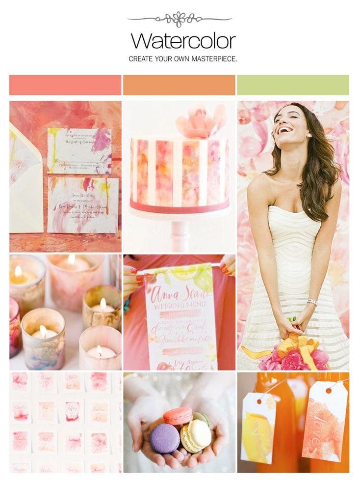 Watercolor wedding inspiration board, color palette, mood board via Weddings Illustrated
