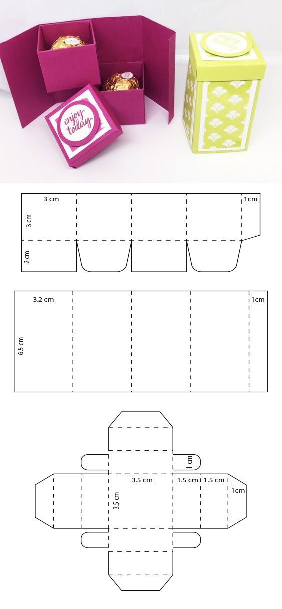 Открытка с коробочкой шаблон