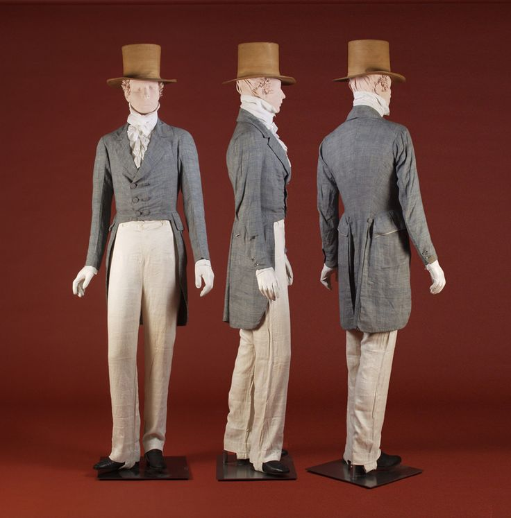 1820-25- cotton plaid morning coat; Gray linen morning coat- 1820's-30's, Blue and white houndstooth cotton morning coat, made by Ann Tetrick 1836; White linen ruffled shirt 1800-1830; White linen trousers , ca. 1830's Exhibition: Fashion on the Ohio Frontier