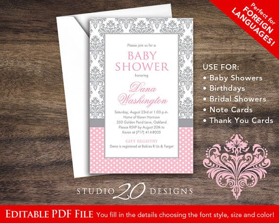 Instant Download Pink Damask Baby Shower Invitations Editable Pdf, DIY 4x6 Pink Grey Damask Baby Shower Invites AUTOFILL enabled 51A