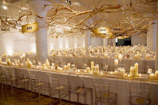 Branche mariage blanc , branche couchées plafond mariage , branche mariage plafond