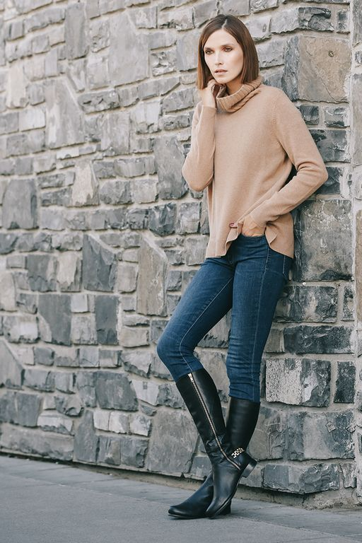 Poppy Barley offers women's made-to-measure shoes in sizes 5-12 and are customized to fit narrow, standard or wide feet. Featured here is our tall Chain Boot designed to fit different calf widths and leg lengths. The perfect detail for fall and winter | PB Fall15 Lookbook