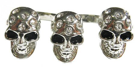 Anel duplo com 3 caveiras prata #skull #ring #caveira #anel