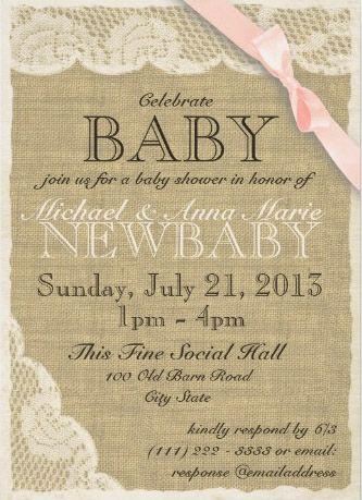 "Baby Shower Invitations. Burlap Texture & Lace Baby Shower Invitation ""New Baby"""