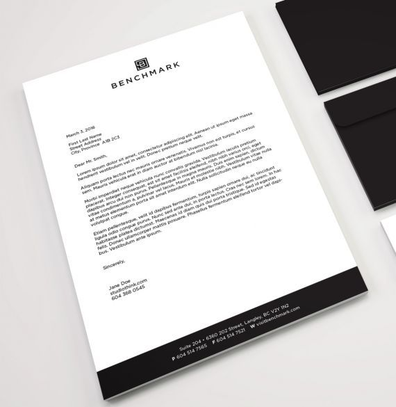 Benchmark Homes logo, stationery, letterhead design. #developer #homebuilder #newhomeconstruction #showhomes #residential #commercial #realestate #LowerMainland #company Branding and web design by #Studiothink / Vancouver, BC #SurreyBC #branding #design #stationery #brochure #website #webdesign #creative #agency