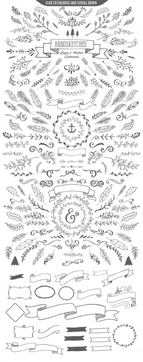 GOLD MINE!!!!!! yipppeee. Hand Drawn Vector Elements and Logo templates – Purcha…