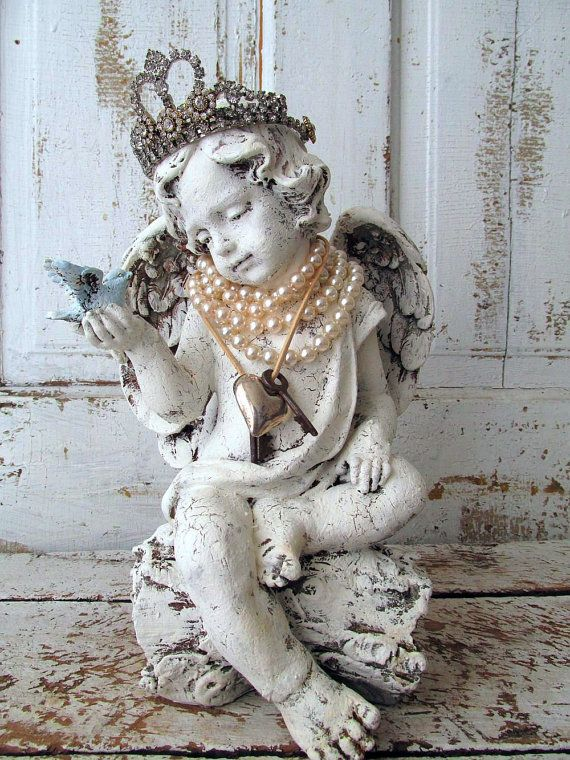 Angel statue holding bluebird w/ French tiara by AnitaSperoDesign