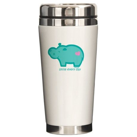 Smile Hippo Ceramic Travel Mug