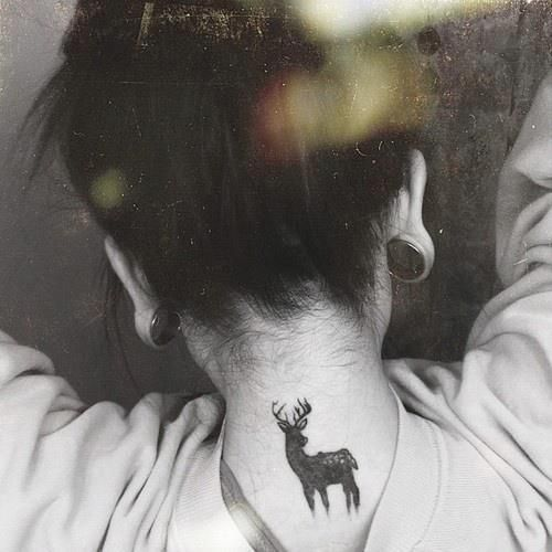 Deer #tattoo on the neck