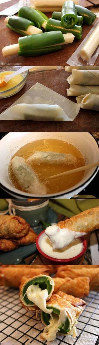 Jalapeno Popper Wontons With String Cheese Recipe Ingredients: Canola or Peanut Oil Large egg-roll wrappers One egg..to seal the edges String Cheese Fresh Jalapenos Ranch Dressing Directions: Cut o…