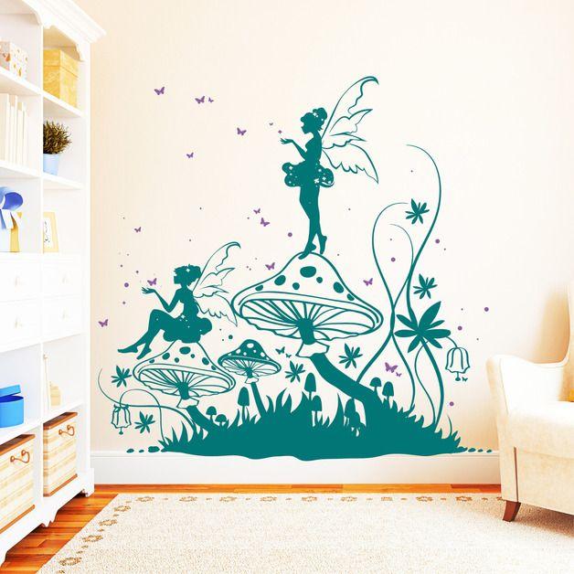 Lovely Wandtatto Elfen im Wald farbig x cm Wandtattoo Kinderzimmer WandmalereienHexeFarbigSchmetterlingeWaldAngeboteKidsroomElfen