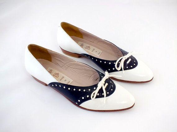1960s Van Eli Black and White Leather Flats  by SweetTrashVintage, $95.00