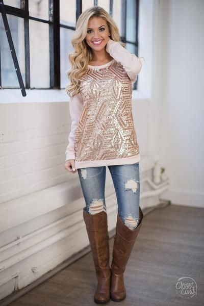 All That Glitters Pullover Sweater - Rose Gold $39