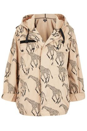 Giraffe Print Hooded Jacket