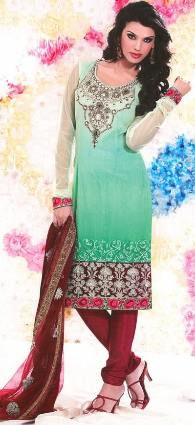 $92.59 Green Faux Georgette Zardosi Work Churidar Salwar Kameez 25995