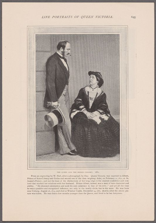 TheQueen and The Prince Consort. 1861. From an engraving by W. Hall, after a photograph by Day... From New York Public Library Digital Collections.