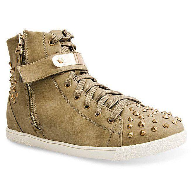 Wysokie Trampki Z Cwiekami G911 Khaki Zielone High Sneakers Sneakers Comfortable Shoes
