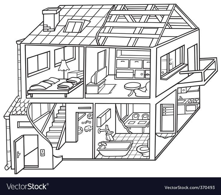 Dwelling House Black And White Cartoon Illustration Vector Download A Free P Dream House Drawing House Drawing Design Your Dream House