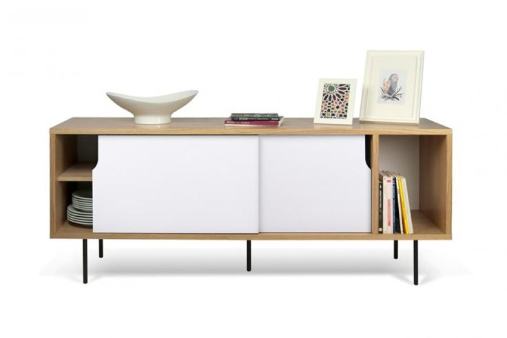 Temahome Dann, Sideboard  in Walnut or Oak with Pure White Sliding Doors and Metal Legs